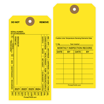 Yellow Non-Imprinted Fire Extinguisher Tags