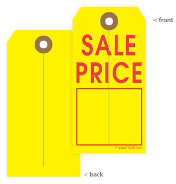 Yellow pricing tag with red imprint