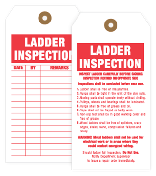 White with red imprint ladder inspection tags