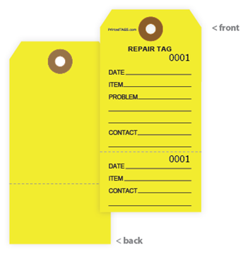 Repair Tags - Yellow