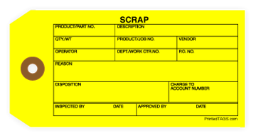 Picture of Yellow Scrap Tag (1000/Box)