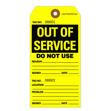 Out of Service Tag - Yellow