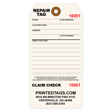 Picture of Custom Repair Claim Tag