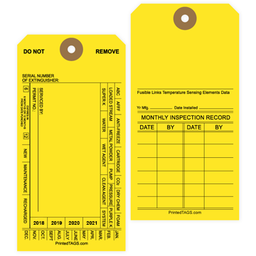 Yellow Fire Extinguisher Tags