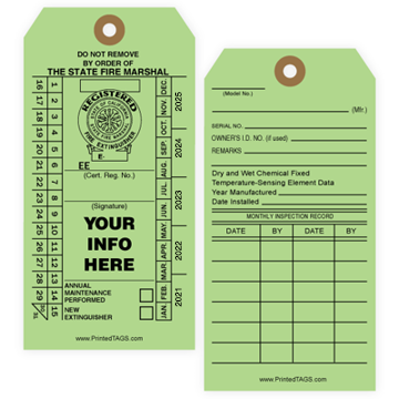 Green State Seal Fire Inspection Tags