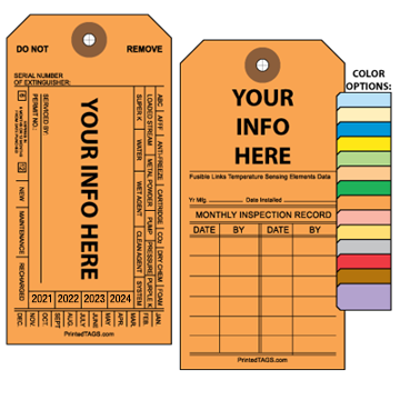 Orange Custom Universal Fire Extinguisher Tag